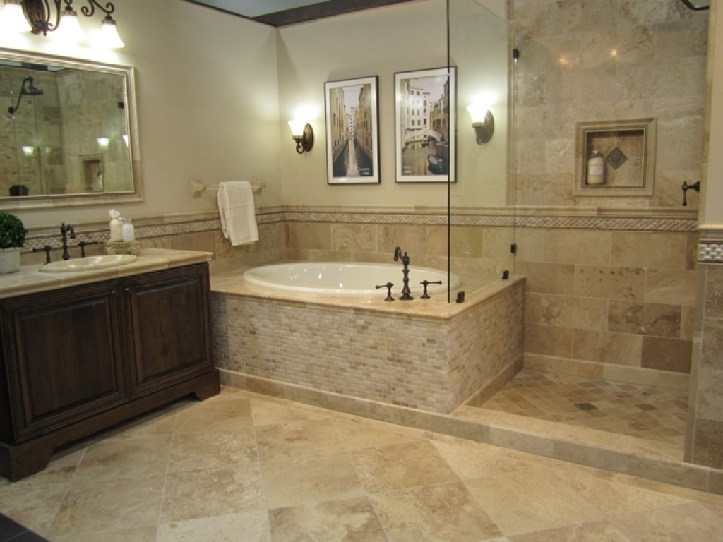 20 pictures about is travertine tile good for bathroom for Tiled bathroom designs pictures
