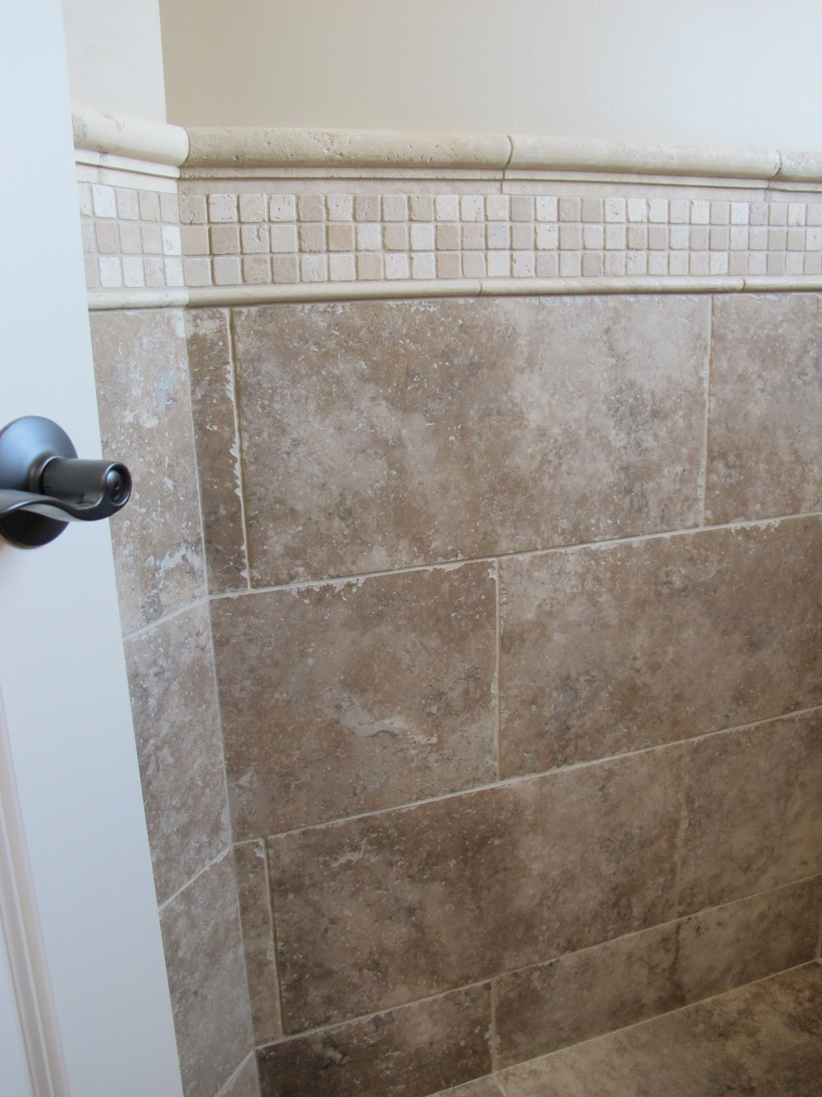 chair rail tile in shower