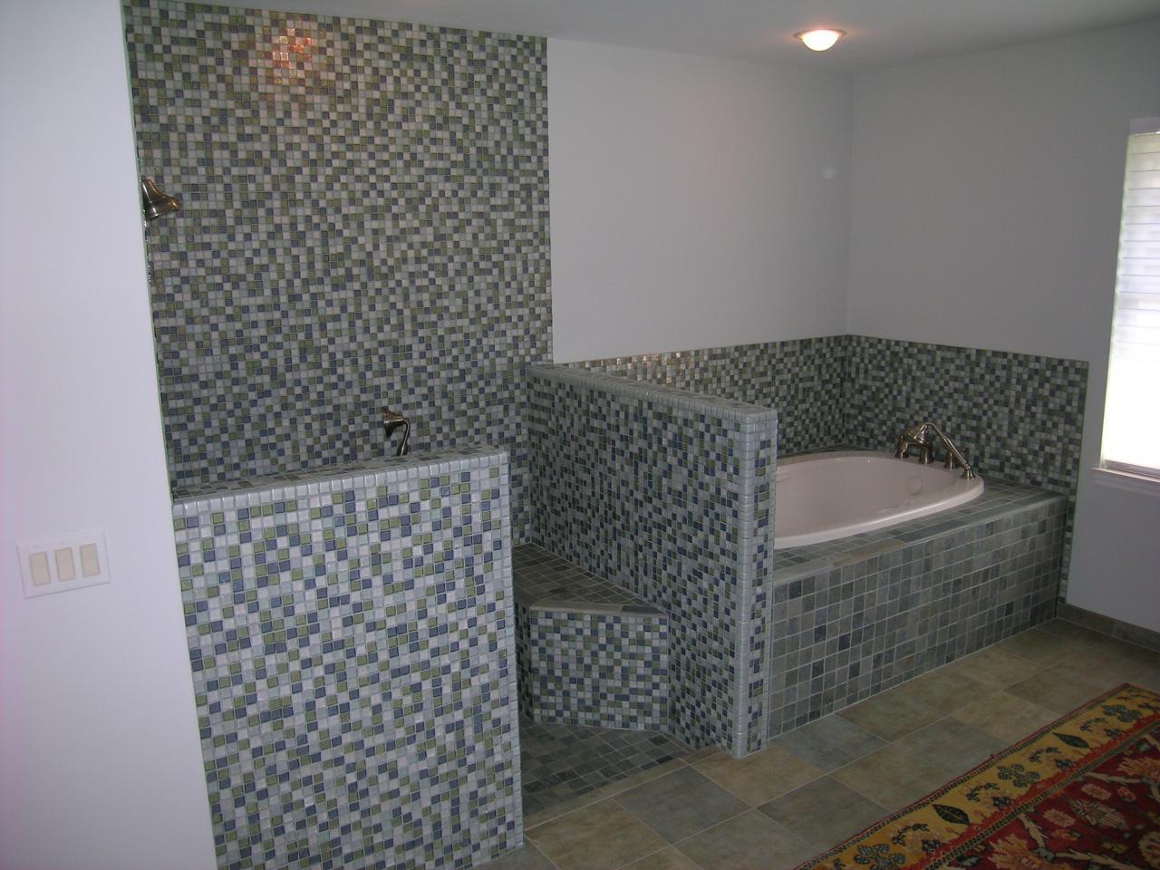 27 great ideas about sea glass bathroom tile for Sea glass mosaic tile bathroom