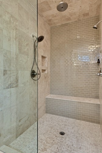 36 shiny grey bathroom tiles ideas and pictures for Travertine tile bathroom ideas