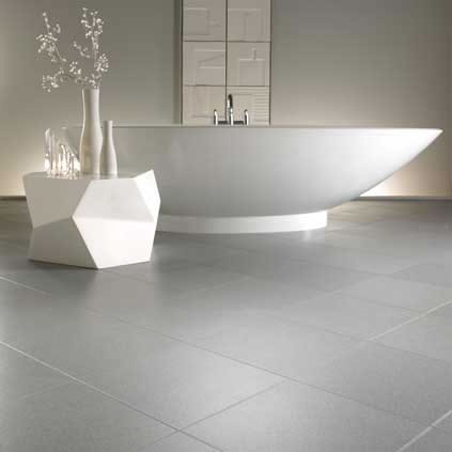 Amazing Natural Grey Bathroom Floor Tiles White Bath Tub Floral Vase