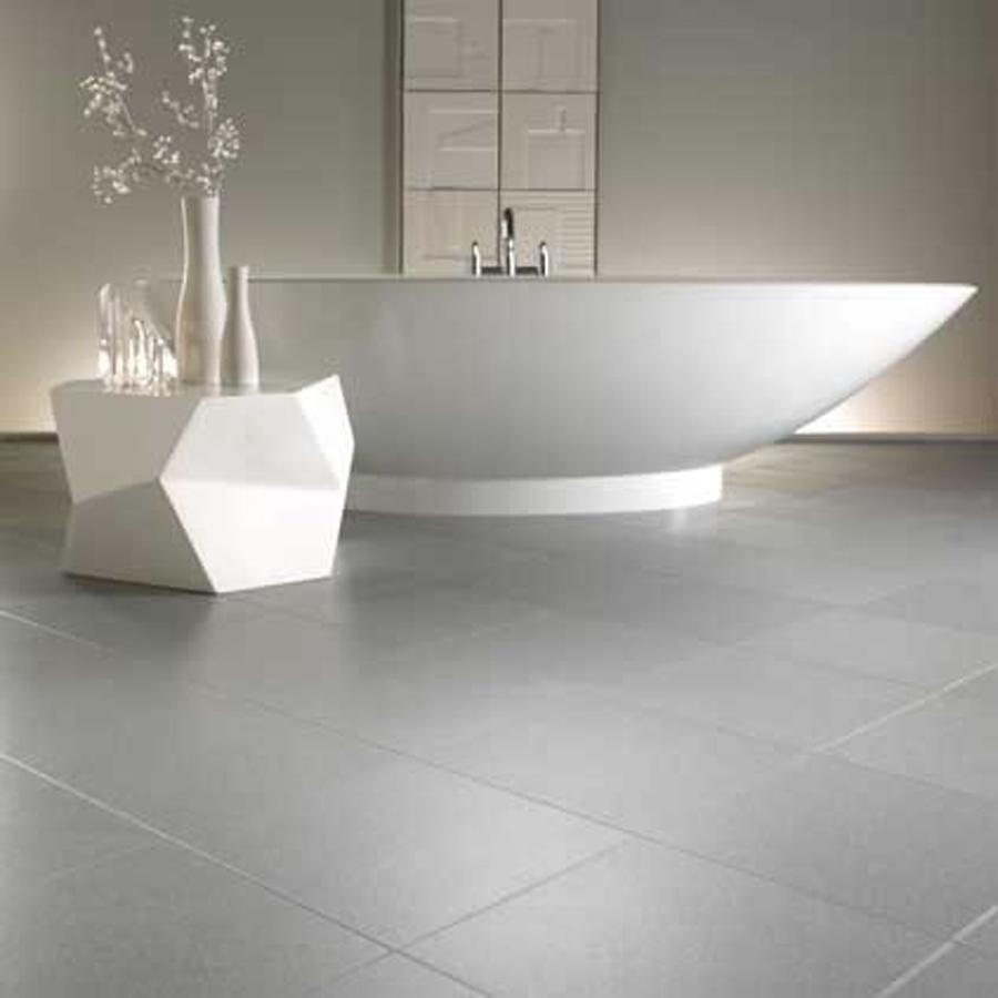 Amazing Natural Grey Bathroom Floor Tiles White Bath Tub Floral Vase