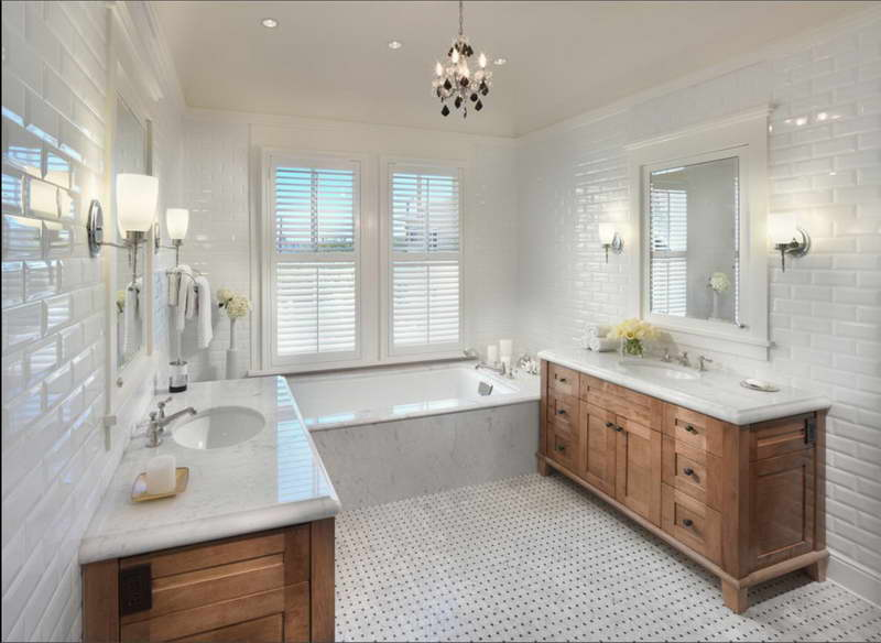 Find-Inspiration-through-Images-of-Tiled-Bathrooms-With-Hanging-Lamp