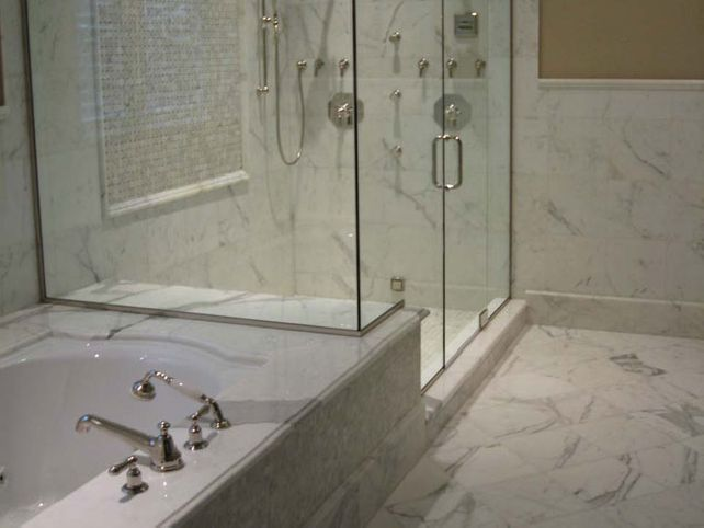 bathroom backsplash ideas glass shower bath white marble tiles