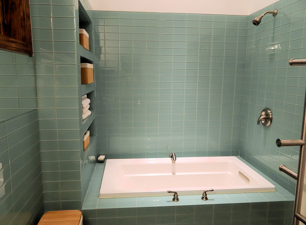Bathroom Wall Glass Tile Ideas Part - 47: ... Green-Glass-Subway-Tile-Shower-Wall