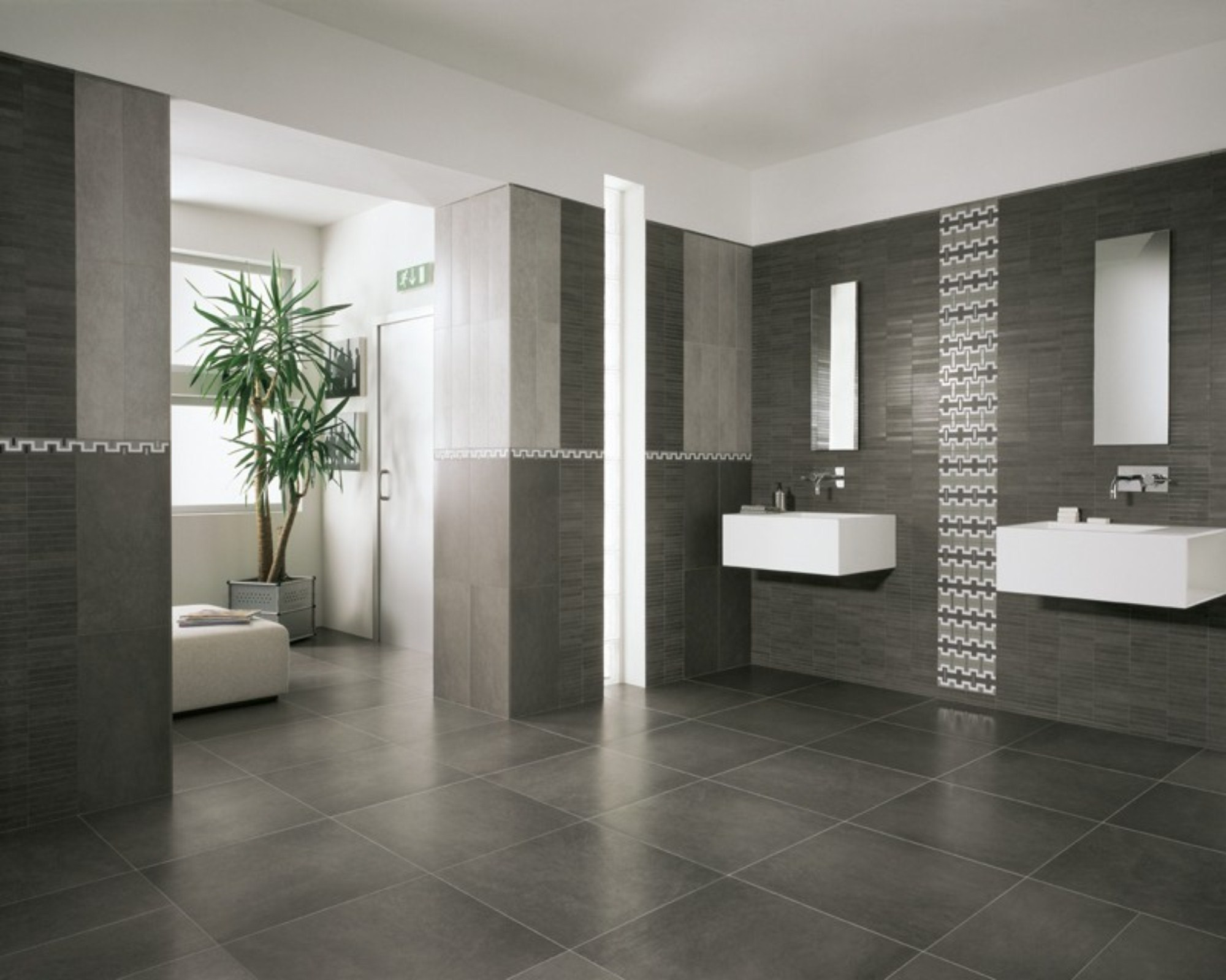 Grey Bathroom Floor Tiles With Two Wall Sinks  ...