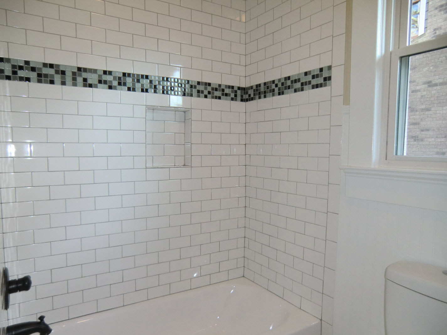 ... Guest Bath Tub With Subway Tile Surround. ...