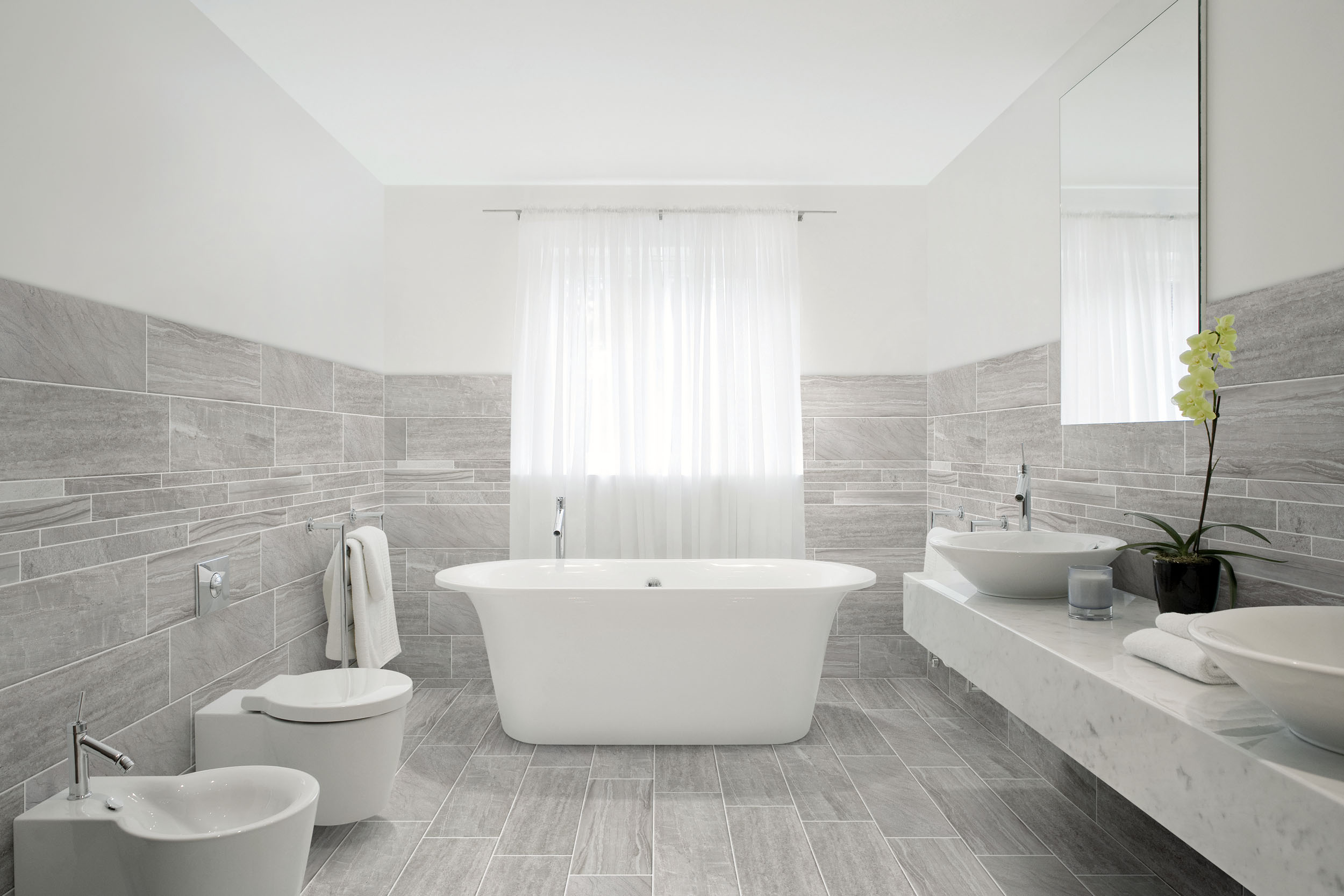 Black and white bathroom wall tiles -  Marmomix Grey 2060 Wall Bagno
