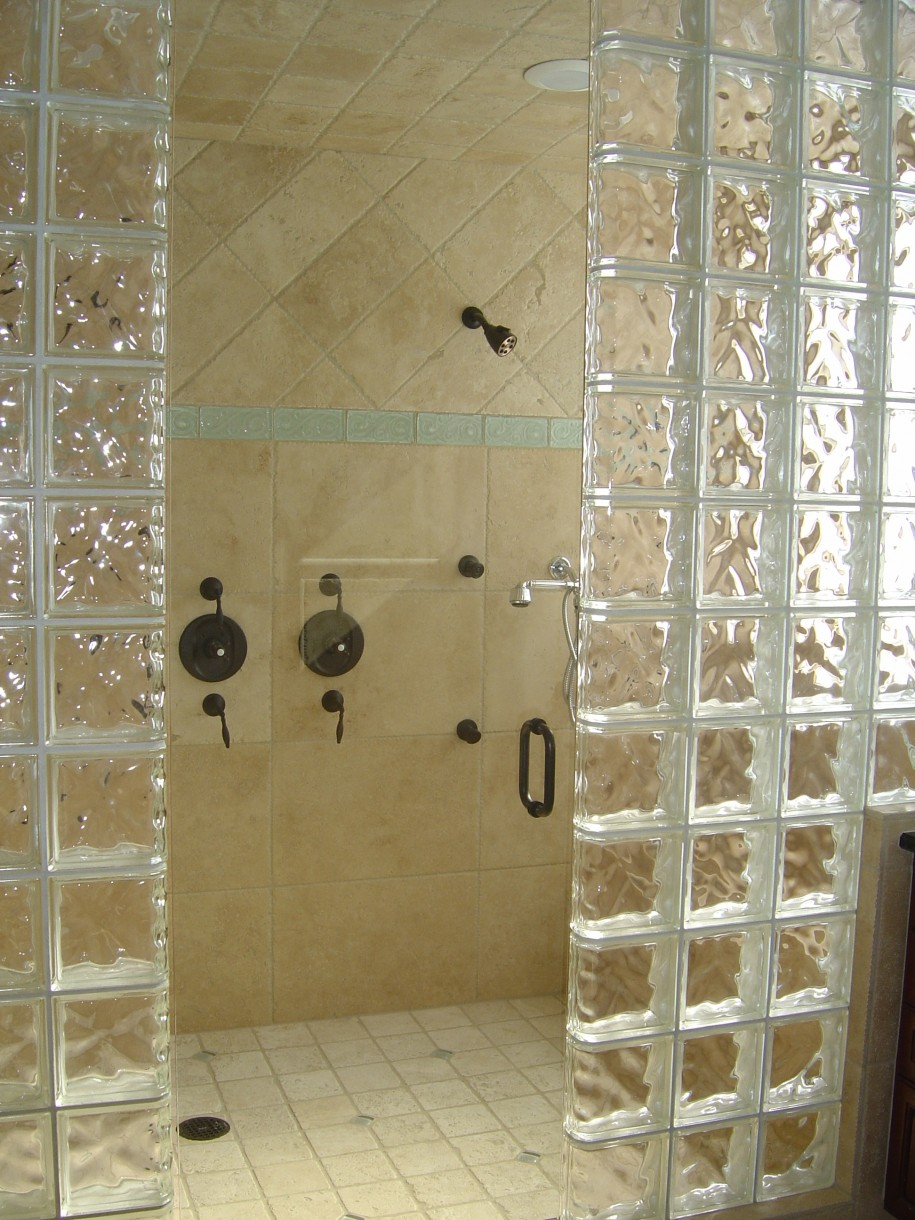 bathroom design of shower room designed with beige tile wall