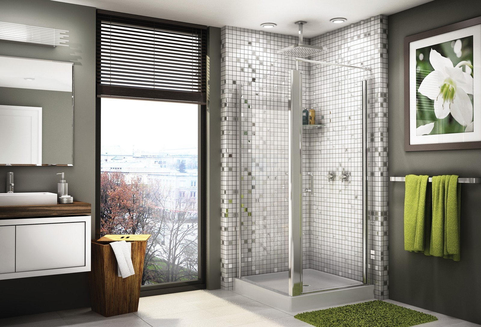 Mosaic Shower Wall Ideas: 30 Cool Pictures Of Tiled Showers With Glass Doors Esign