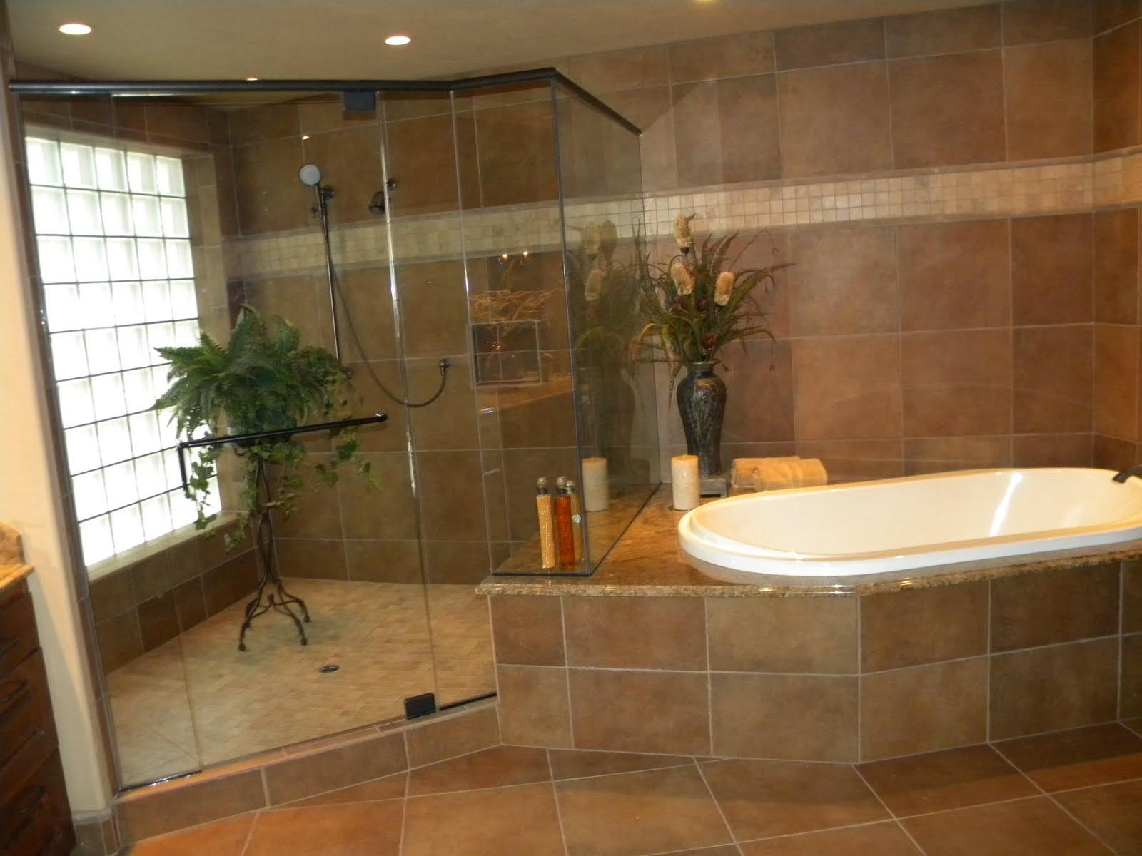 25 wonderful large glass bathroom tiles for Brown bathroom ideas