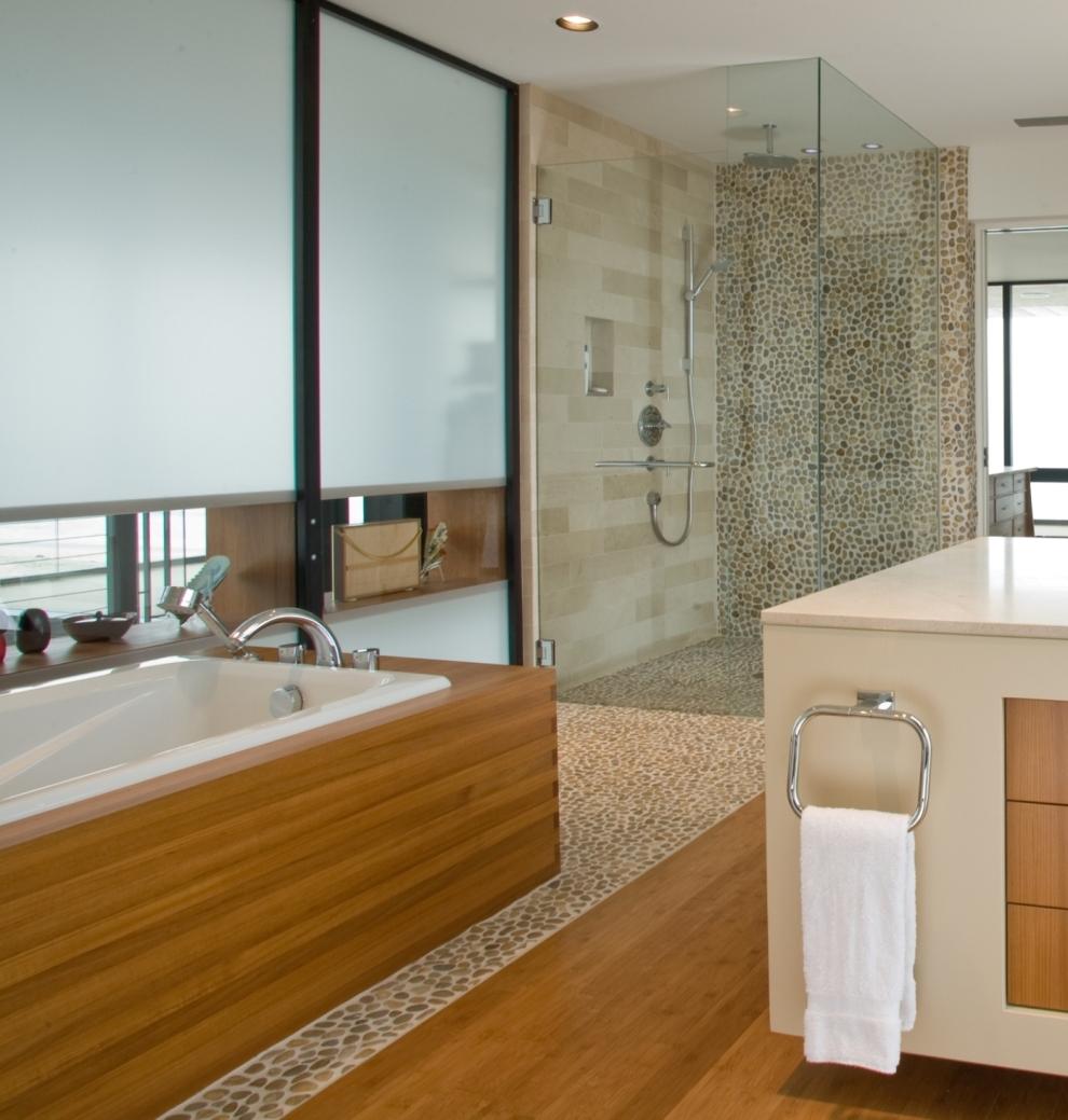 bathroom-wondrous-pebble-stone-bathtub-floor-and-glass-stall-shawer-with-pebbles-walls-in-the-contempo-laminate-wood-bathroom-decoration-fancy-pebble-tile-bathroom-ideas