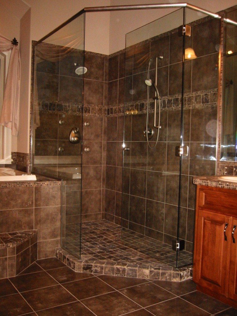elegant-wood-bathroom-vanity-cabinets-design-plus-glass-interior-door-feat-awesome-dark-shower-tile-idea