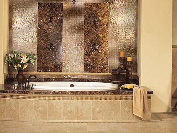 30 great ideas of glass tile for bath for Bathroom design ideas mosaic tiles