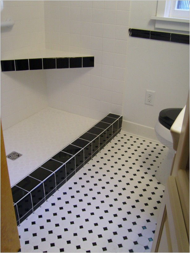 interior in vogue white flooring black dotted ceramic bath tile floors installation with corner shower seating and white wall bath panels in modern bathroom ideas exquisite white flooring from a 25144