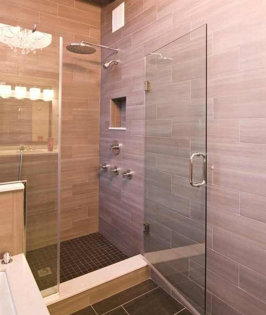 modern-bathroom-with-Hanging-Rainfall-Shower-Heads-and-glass-shower-stalls-also-natural-tile-siding-wall-design-ideas