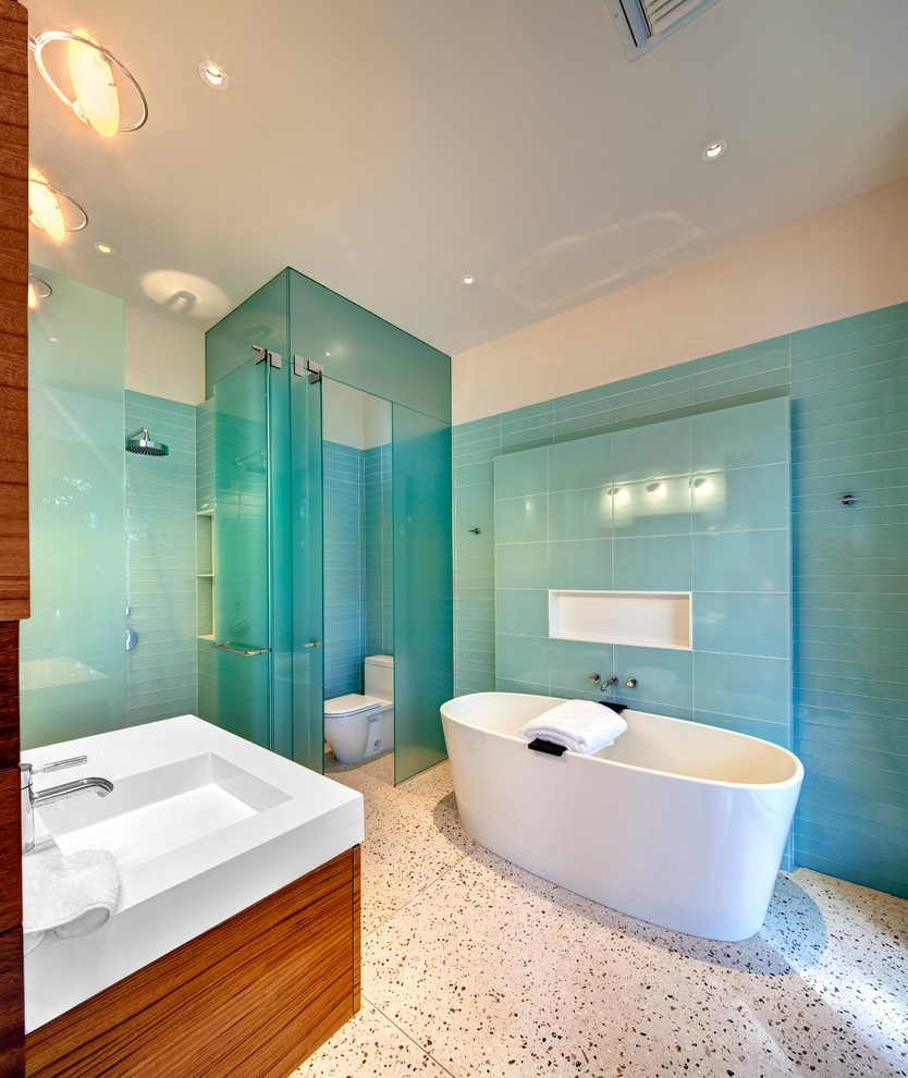 small-bathtub-singapore-Bathroom-Contemporary-with-blue-glass-tile-walls