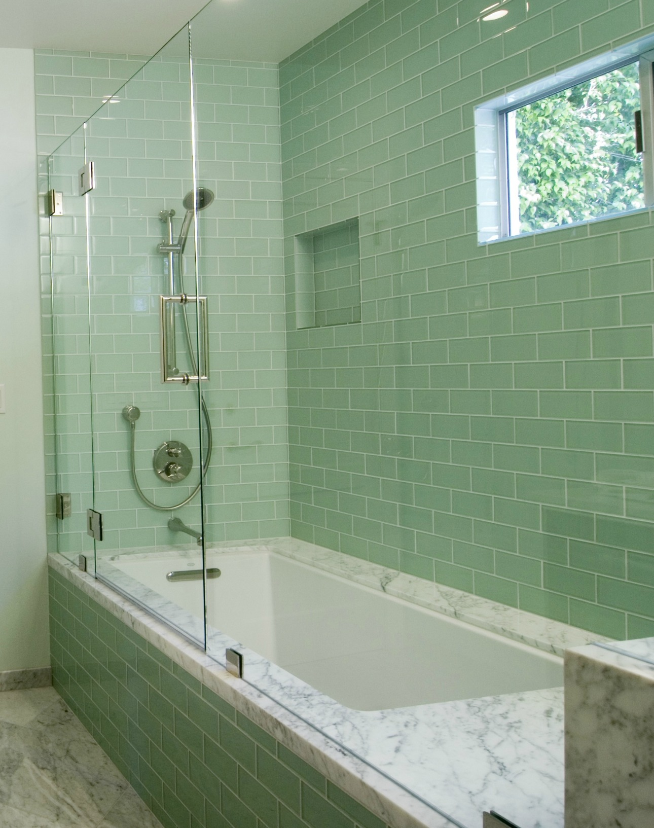 tiles-kitchen-bathroom-inspiration-modern-green-glass-subway-tile-for-bathroom-wall-panels-also-chic-stainless-head-shower-at-white-unique-bathtubs-also-cool-chrome-mixer-taps-design-neat-glass-subwa