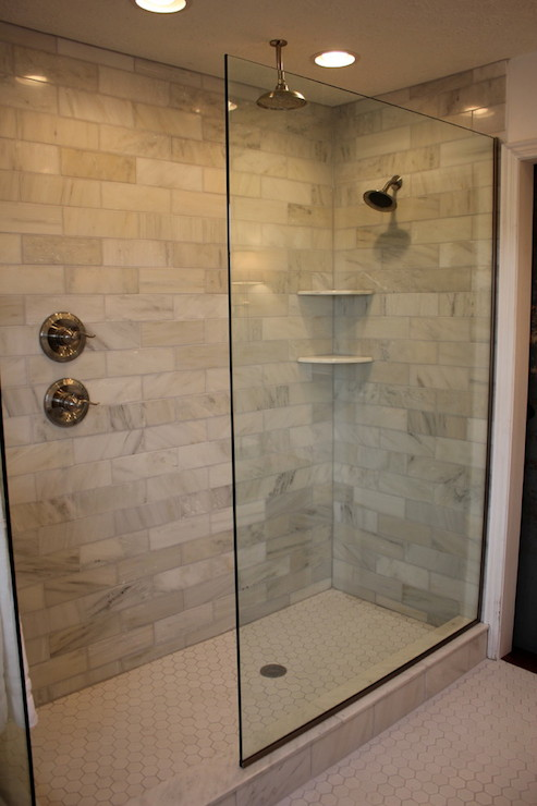 30 ideas for using subway tile in a shower for Tiled bathroom designs pictures
