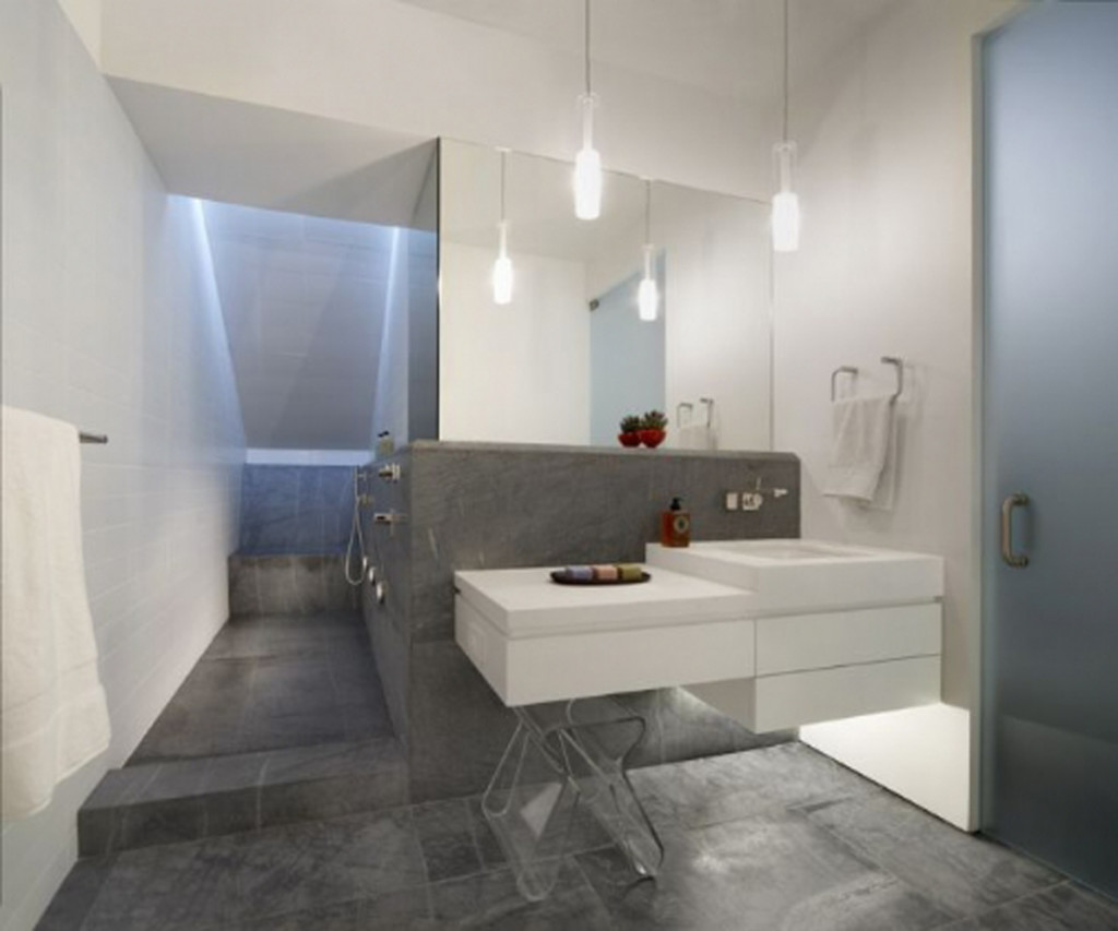 cool grey white bathroom vanity | 25 grey wall tiles for bathroom ideas and pictures