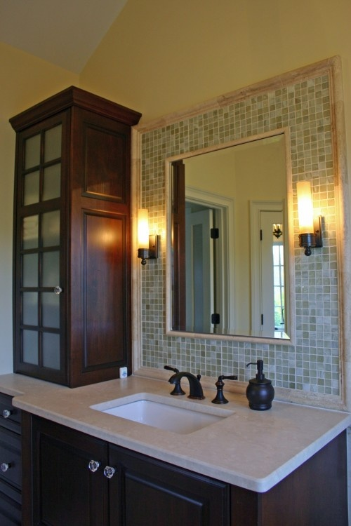 31 Ideas Of Using Mosaic Tile Around Bathroom Mirror