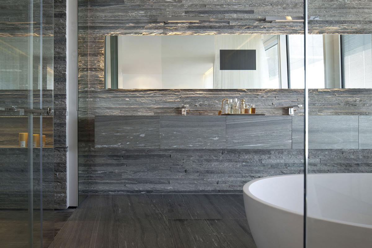 24 amazing pictures and ideas of ceramic wood tile in bathroom for Large glass tiles for bathroom