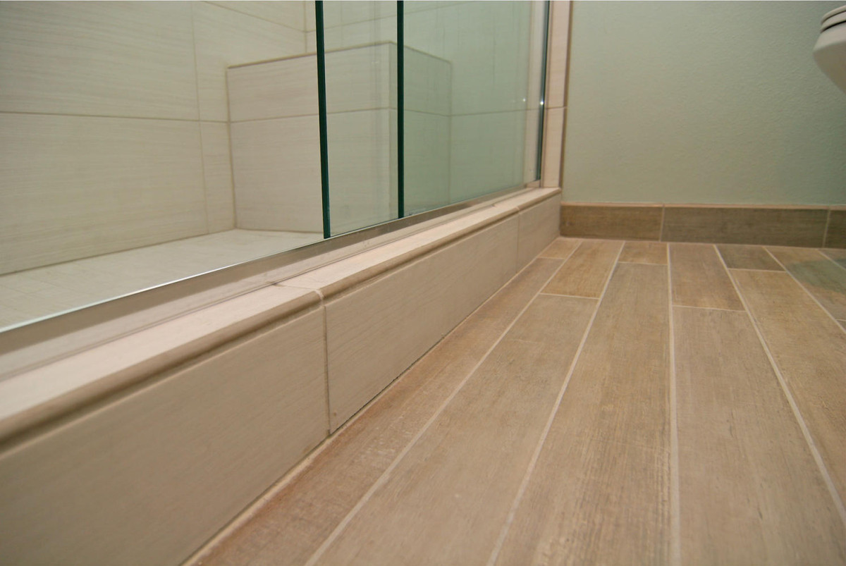 Wood baseboard in bathroom -  4 5