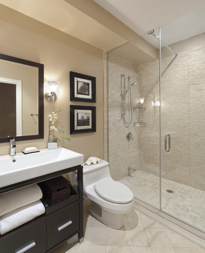 Baroque-Free-Standing-Toilet-Paper-Holder-technique-Toronto-Transitional-Bathroom-Decorating-ideas-with-above-counter-sink-bathroom-lighting-bathroom-mirror-bathroom-tile-cream-walls-dark-frames-dark