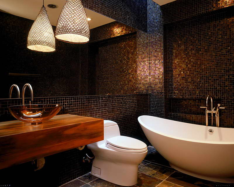 Bathroom-Tile-Patterns-With-Unique-Hanging-Lamp