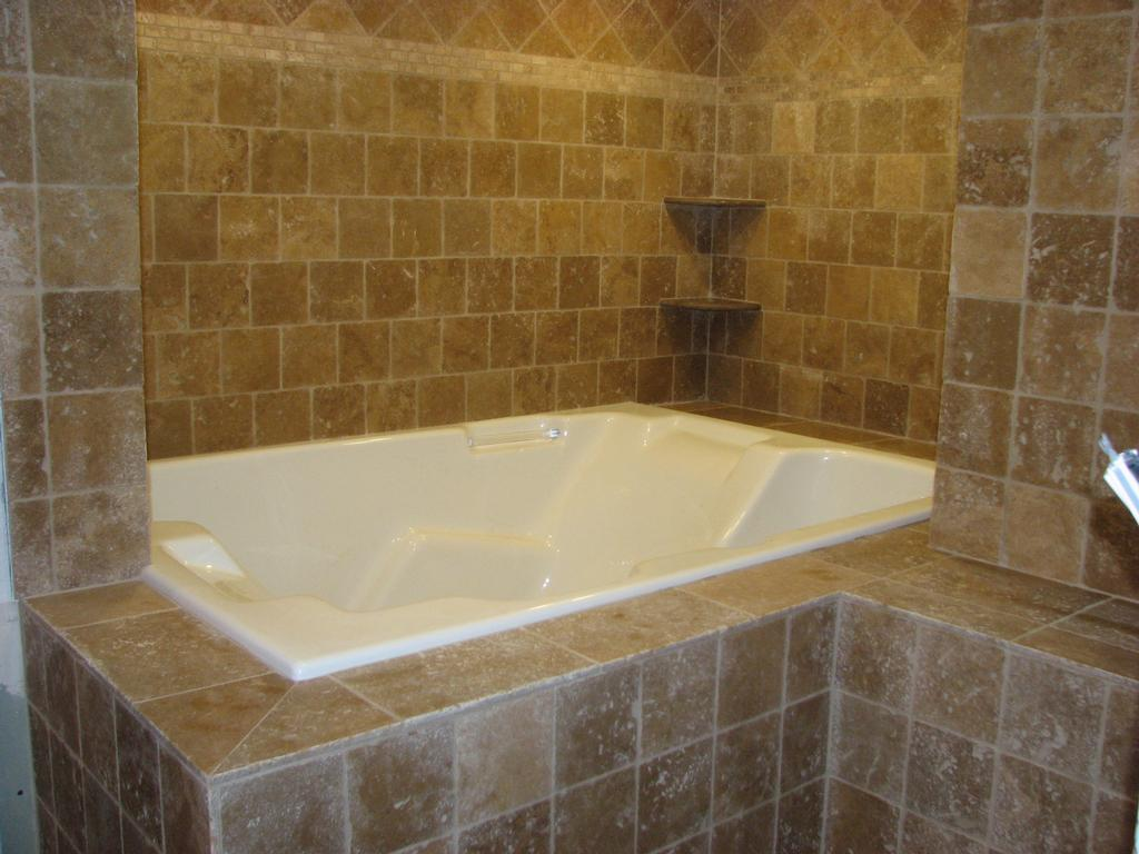 ... Brick_pattern_tile_shower_with_shelves_in_bathroom.53103937_large Brown  Small Bathroom Tile ...