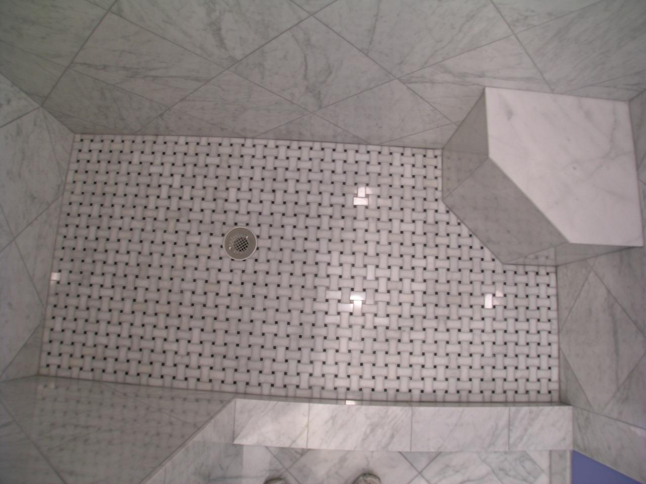 Shower Floor Tiles Which Why And How: 23 Nice Ideas And Pictures Of Basketweave Bathroom Tile