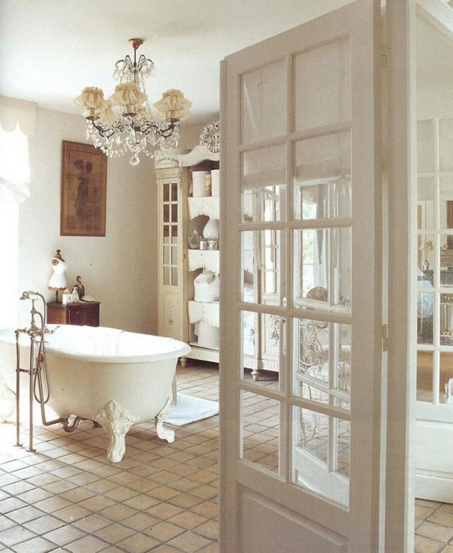 Elegant-shabby-chic-bathroom-with-victorian-freestanding-bathtub-and-gorgeous-armoire-also-French-doors