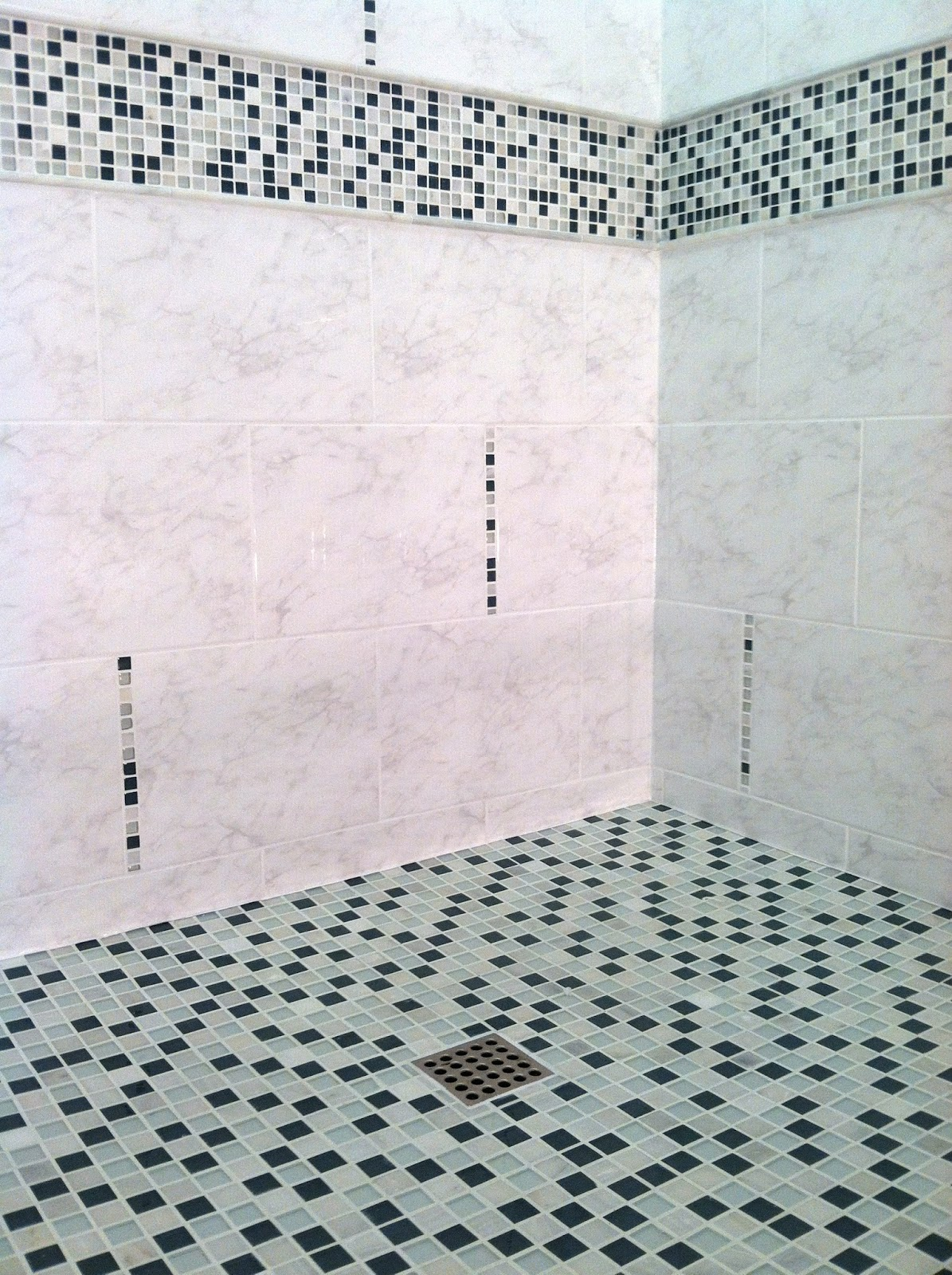 Glass mosaic shower tundra finish works