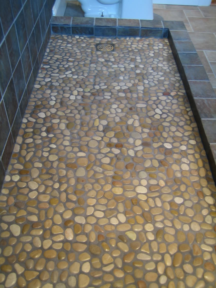 Gray-Rock-River-Mosaic-Shower-Floor-Tile-For-Artless-Bathroom-Designs