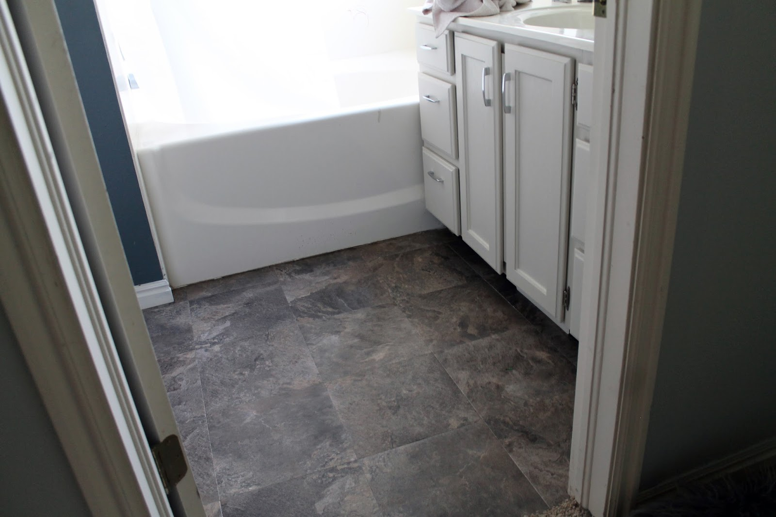 Self Stick Floor Tiles Over Vinyl How To Makeover Dated