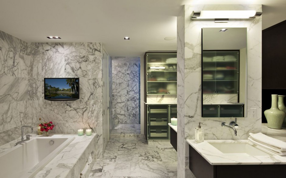 Impressive-Marble-Wall-and-Floor-in-Modern-Bathroom-Design-with-Bathtub-facing-Vanity