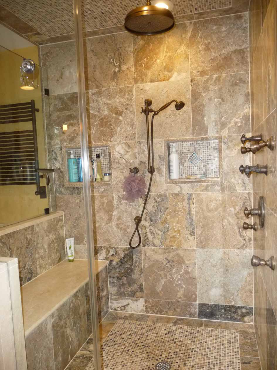 Likable-Interior-Bathroom-Design-With-Rustic-Vintage-Tile-Patterns-And-Patterned-Shower-Walls-And-Glass-Shower-Ideas-Image