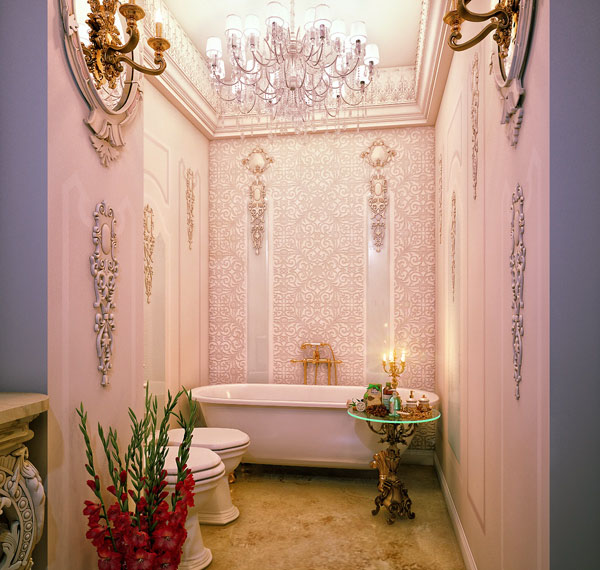 Luxury-Pink-Bathroom-Atmosphere-With-Perfect-Chandelier