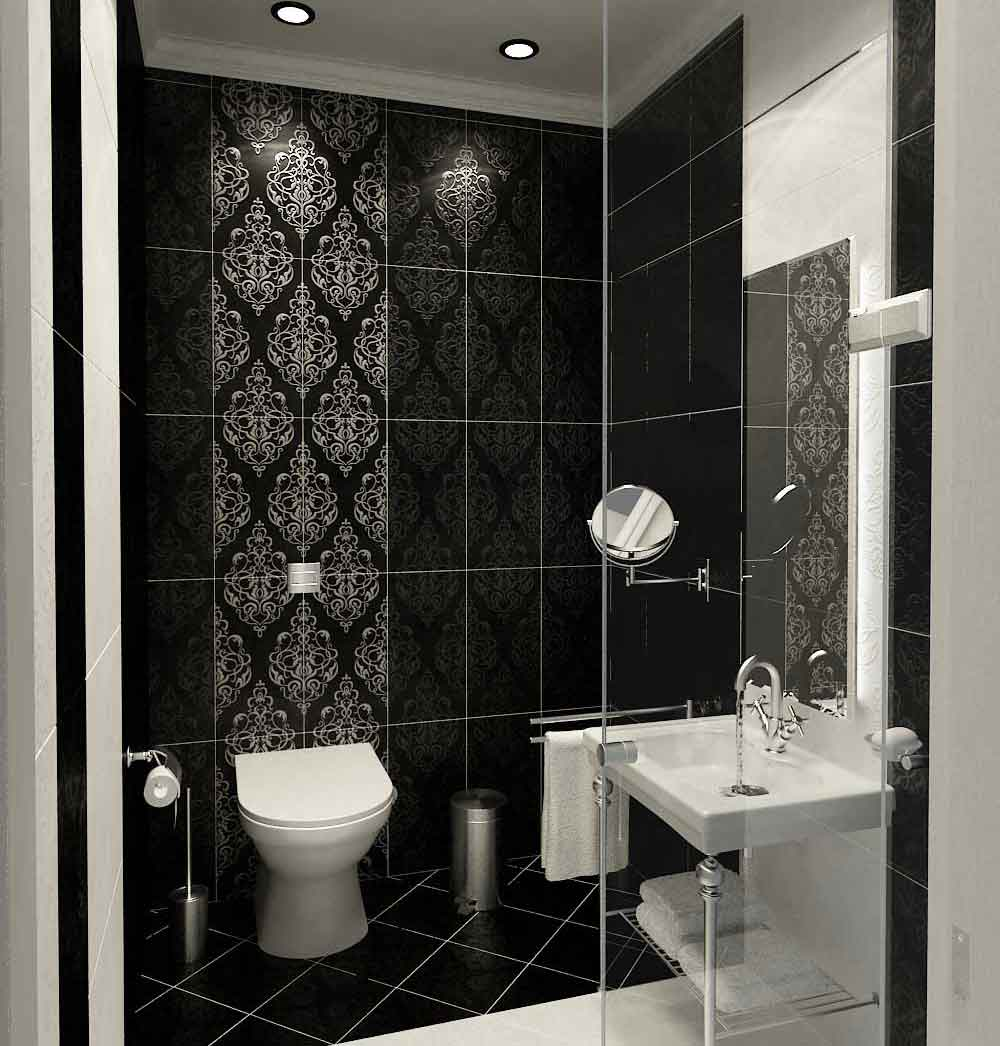 Modern-Classic-Style-Bathroom-Black-and-White-Tile-Design-Ideas