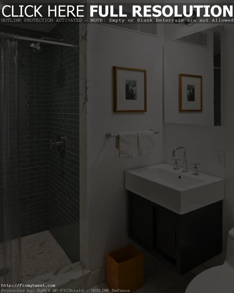 Modest-White-Small-Bathroom-Designs-with-Mosaic-Tiles-and-Plastic-Shower-Curtains-819x1024