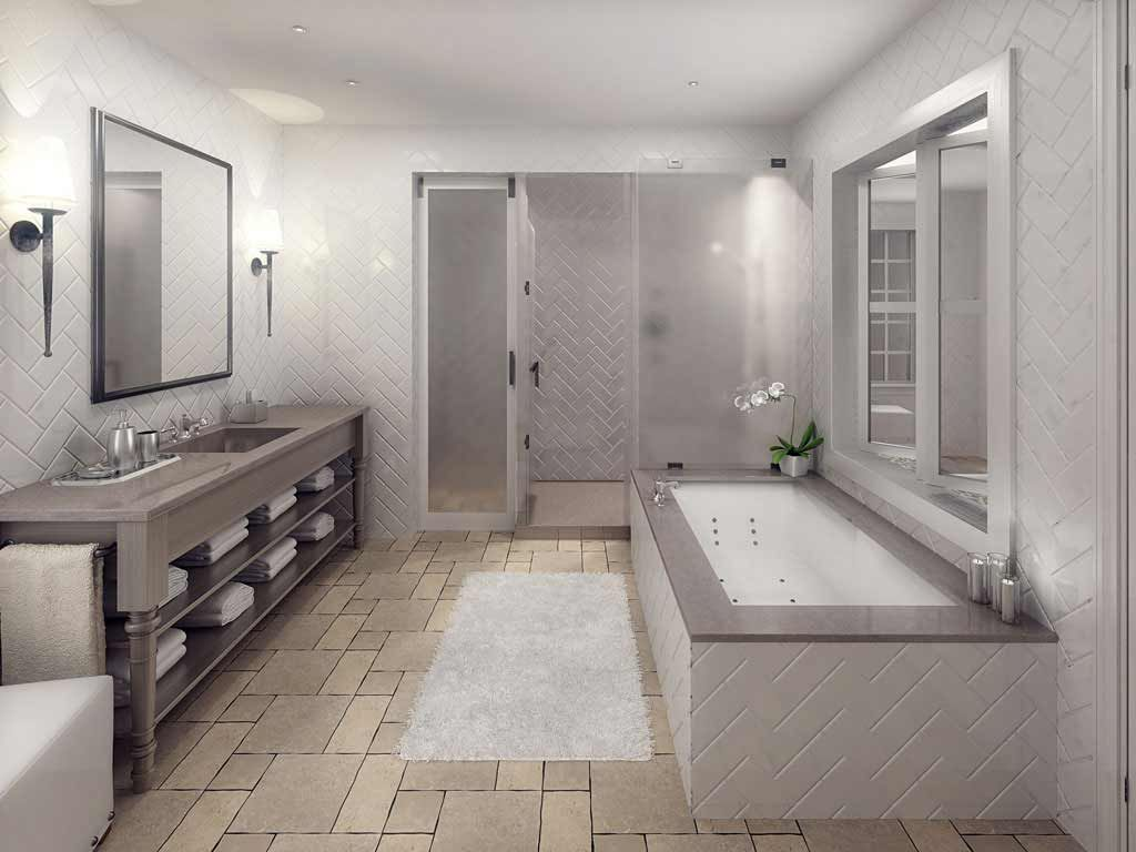 Natural-stone-tile-floor-in-gray-bathroom