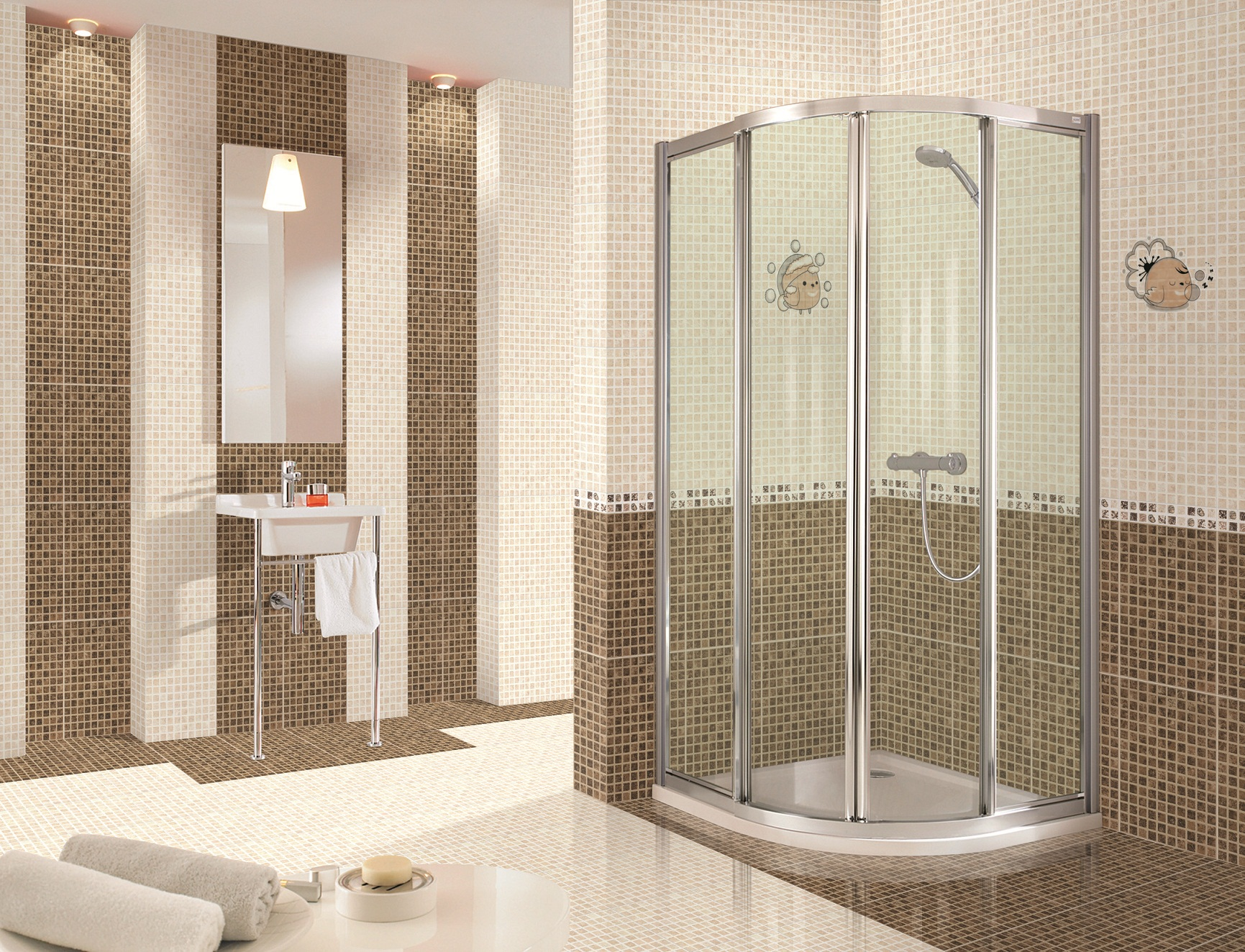 nice and cool white small shower floor tile - Tile Bathroom Designs