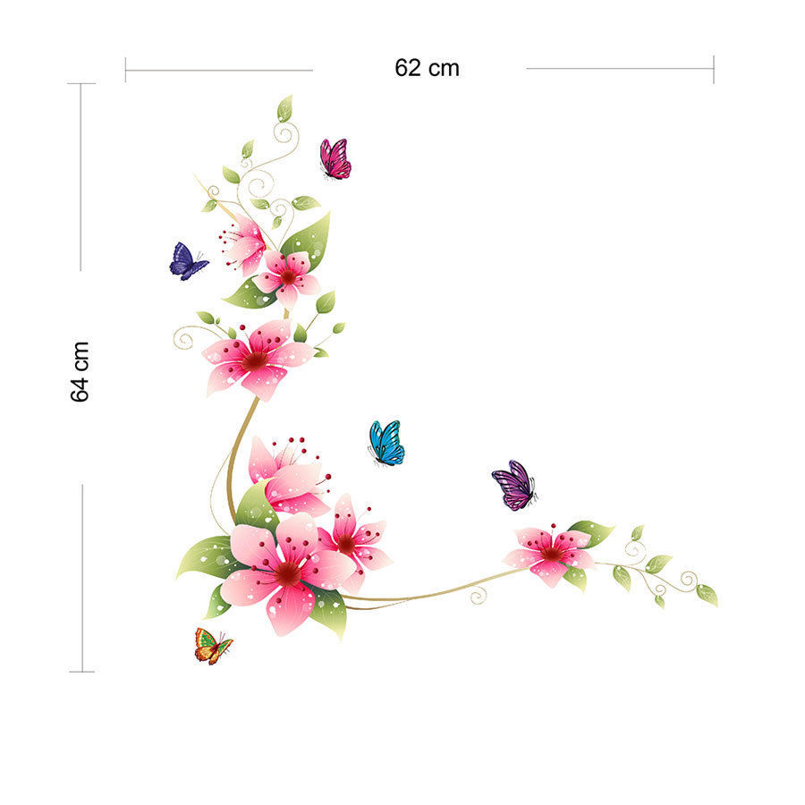 Nice-Butterfly-Flower-Glass-Tile-Wall-Sticker-Decal-Mural-For-Room-Decoration-QT05F03