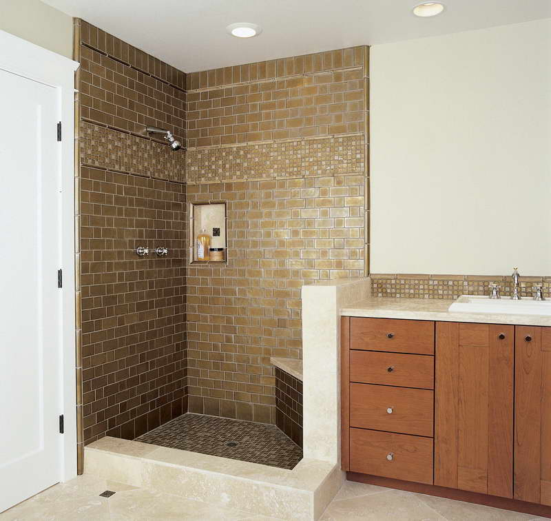 shower tile designs ideas with modern sink - Shower Tile Design Ideas
