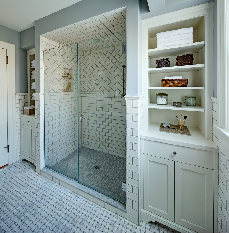 30 great pictures and ideas basketweave bathroom floor tile for Traditional master bathroom ideas