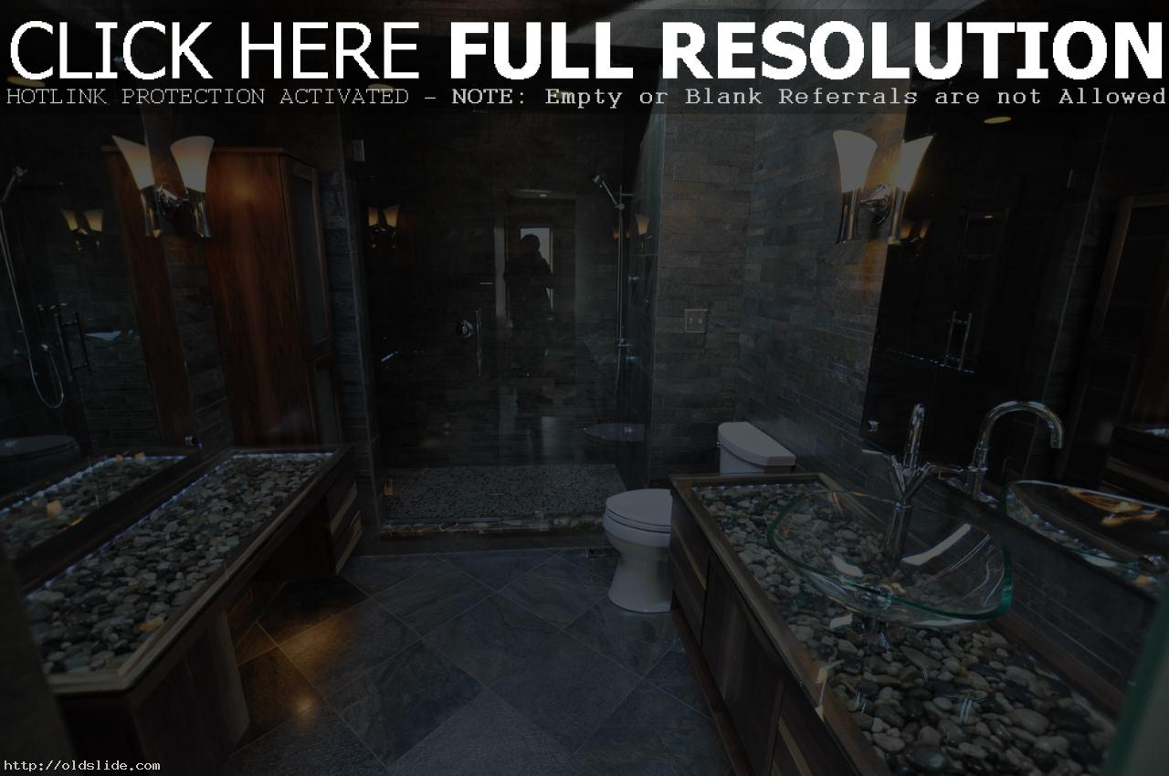 Stunning-vessel-sinks-bathroom-ideas-with-circular-river-stone-vanity-and-bathroom-slate-walls-and-floors