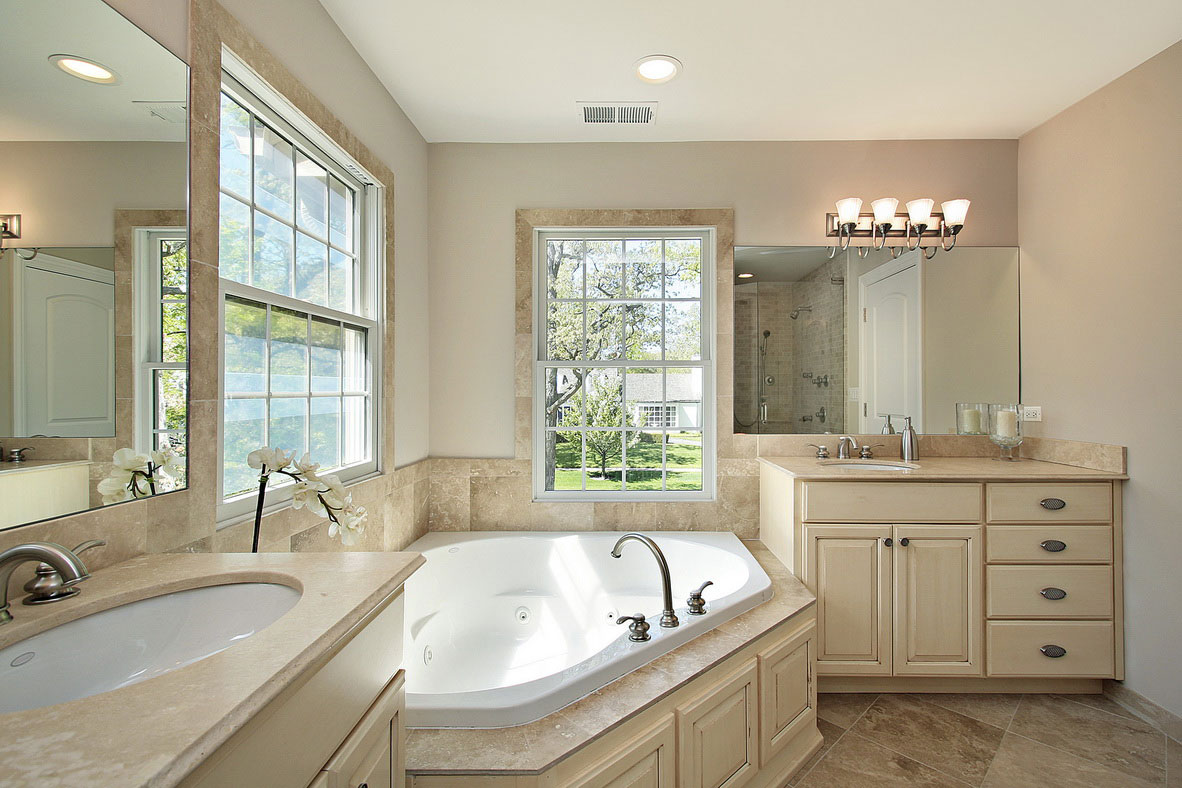 Up-Light-Sconce-Bruises-In-Alluring-Vintage-Bathroom-Renovation-Ideas-With-Fetching-Hot-Tub