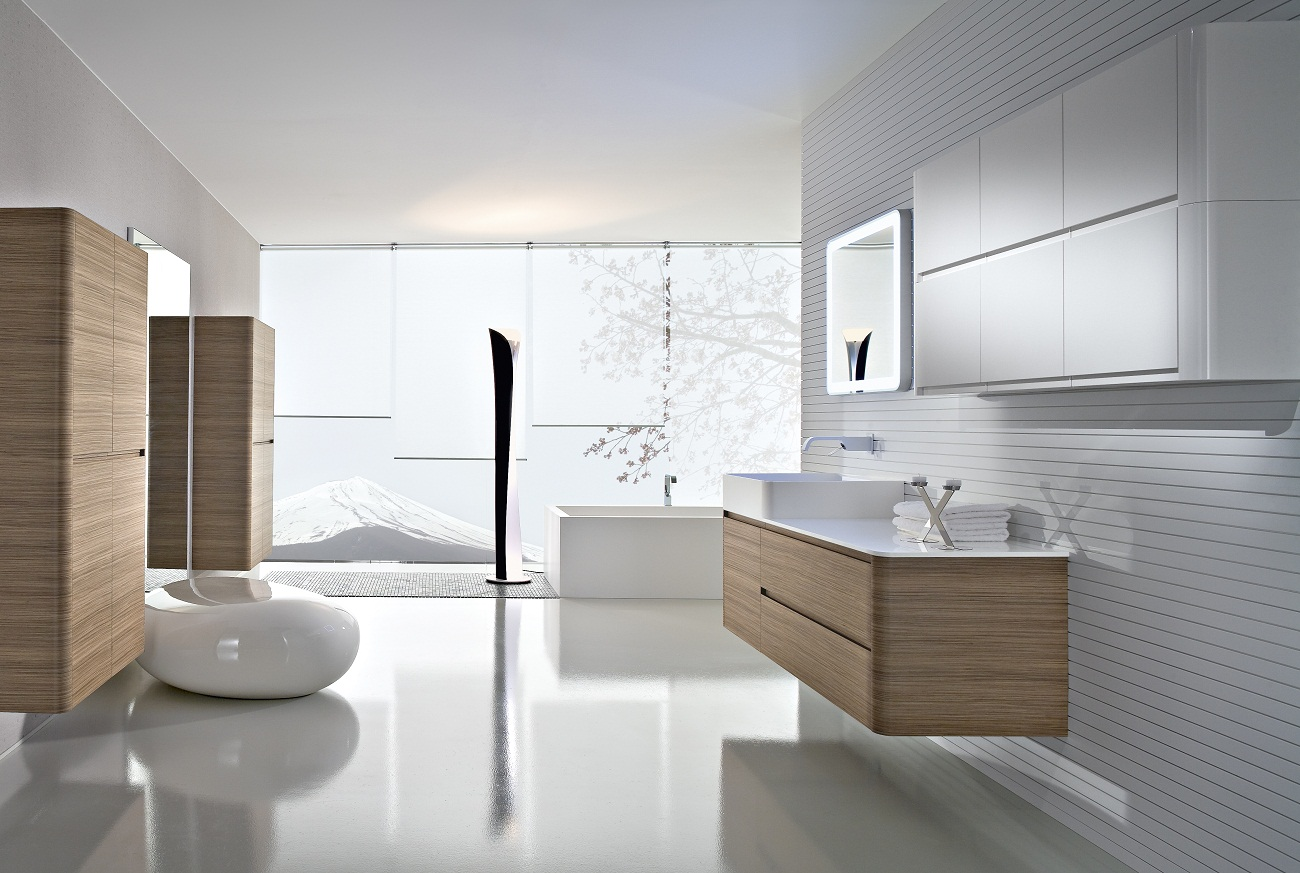 Elegant Modern Bathroom With White Tile  Contemporary  Bathroom  Other
