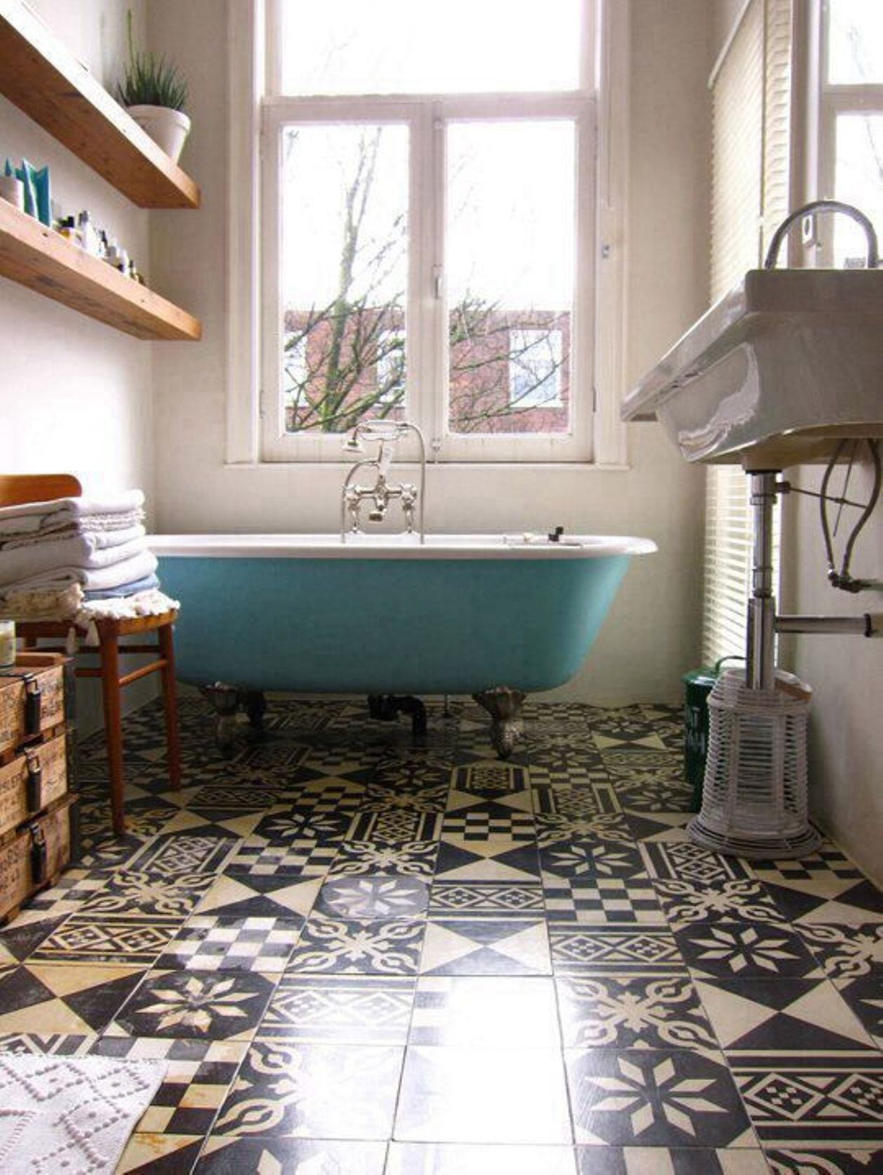 bathroom-beautiful-bathroom-design-ideas-for-small-space-with-blue-tub-and-woode-shelves-vintage-bathroom-tile-patterns-ideas