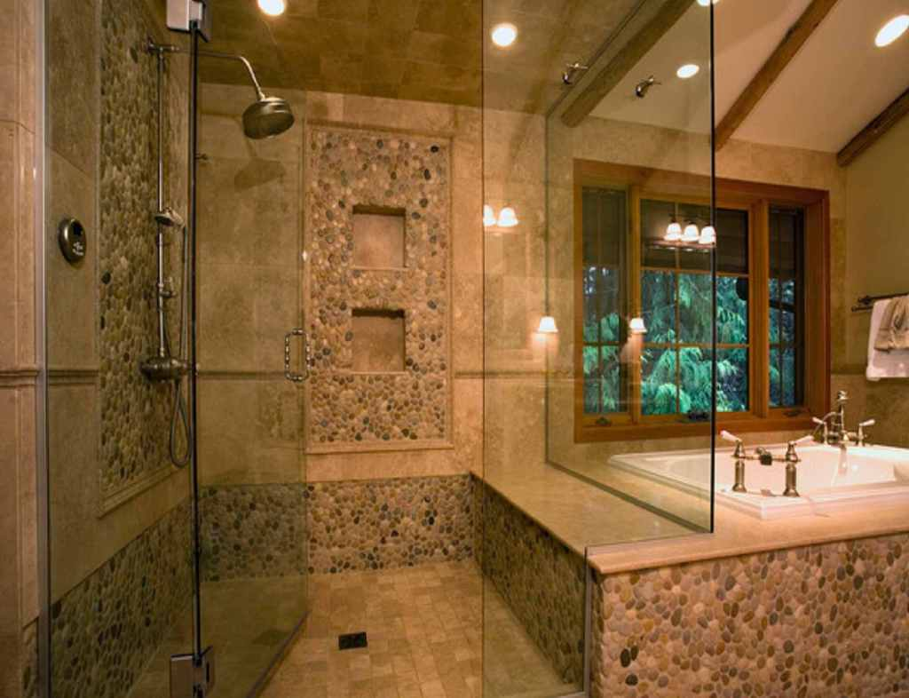 30 stunning natural stone bathroom ideas and pictures for Bathroom designs glass
